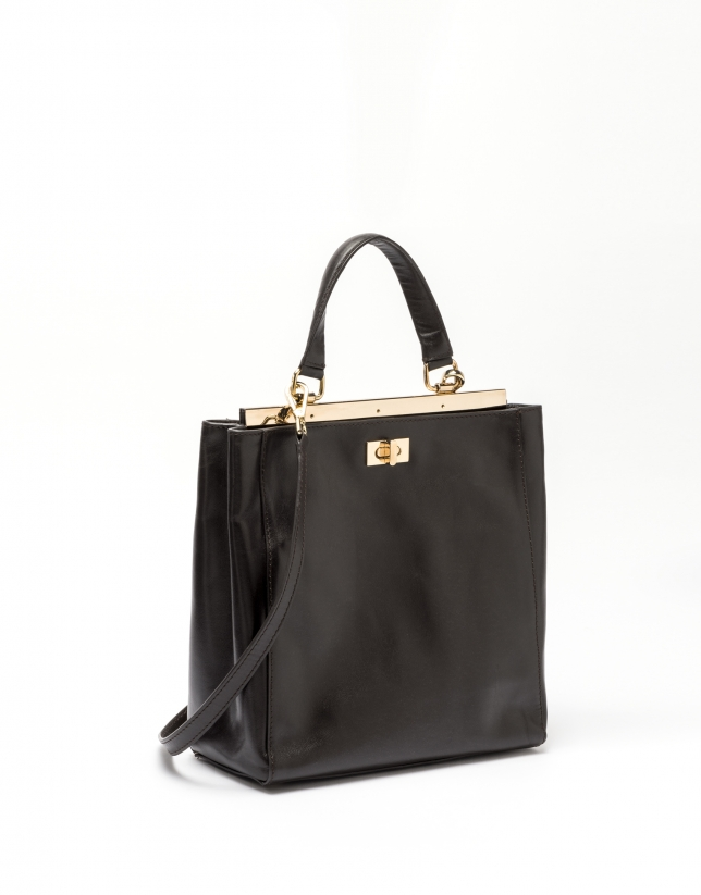 Tan leather Baver tote bag