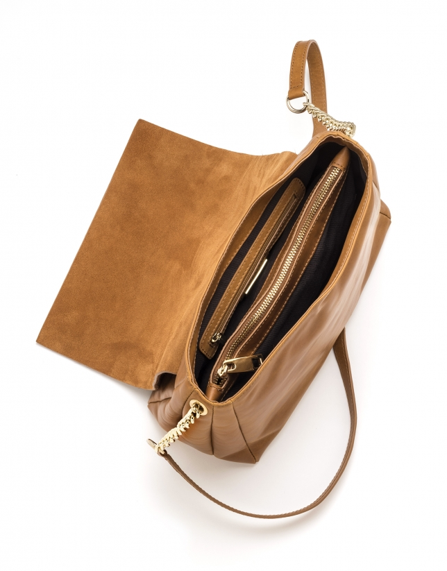 Sac Shoulder Olivia en cuir marron