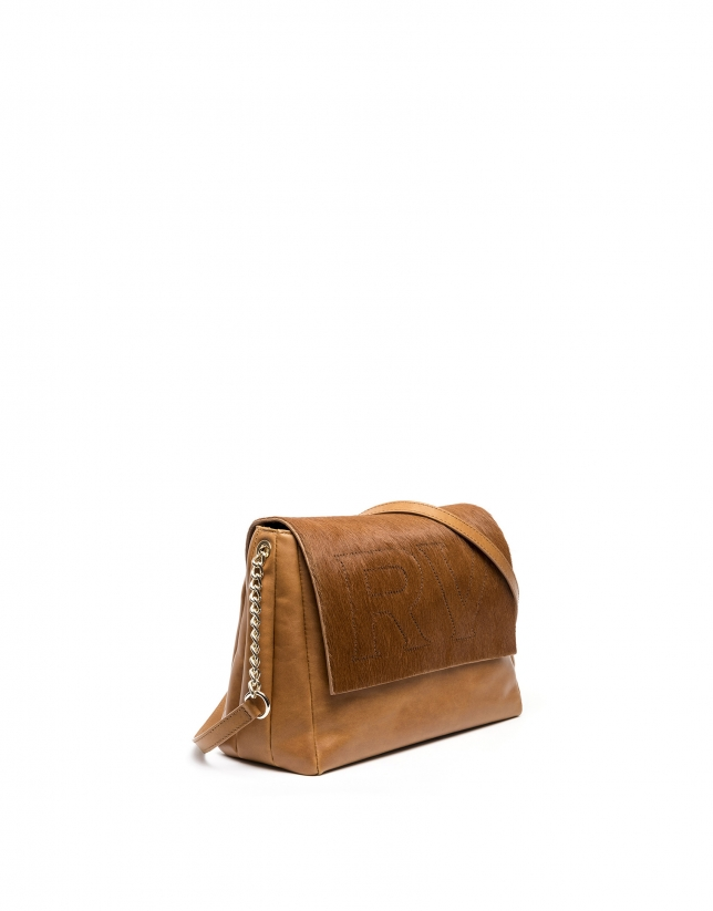 Brown leather Olivia shoulder bag