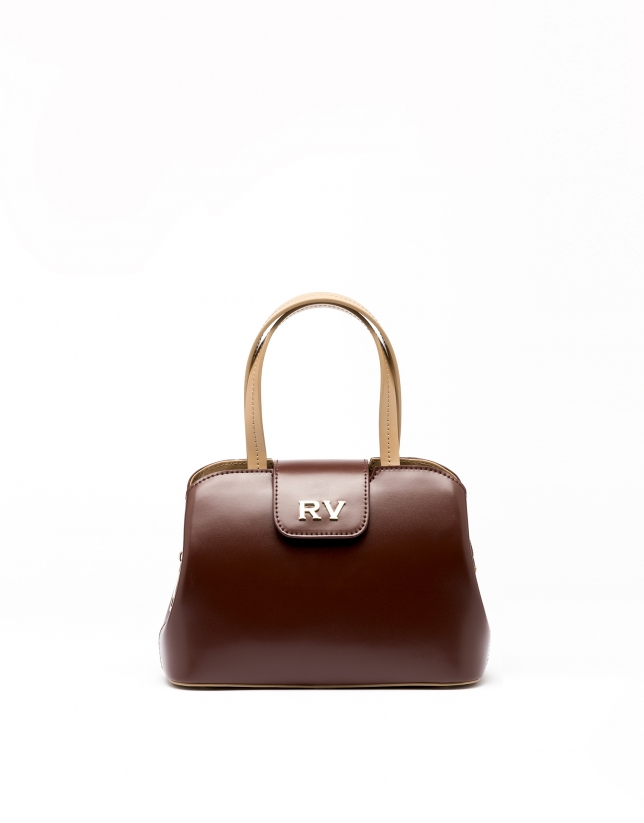 Satchel nano en cuir marron Ryan