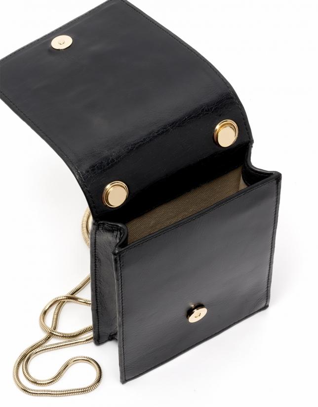 Bolso mini shoulder piel negra Eme