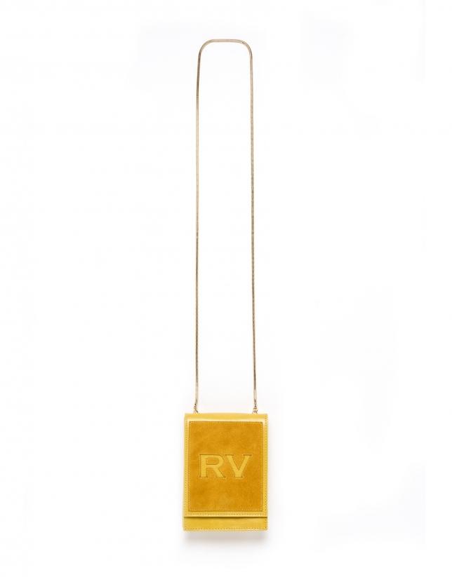 Mini sac à bandoulière Eme en cuir, couleur moutarde