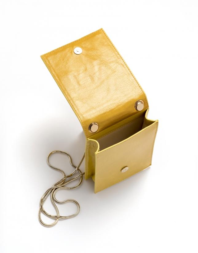 Mustard leather Eme mini shoulder bag