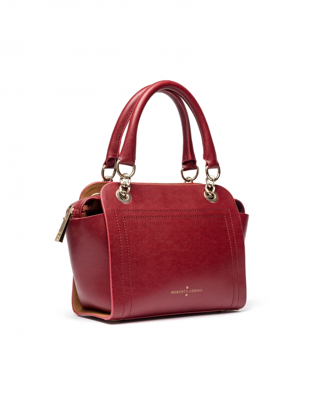 Dark red Saffiano leather mili Romeo satchel