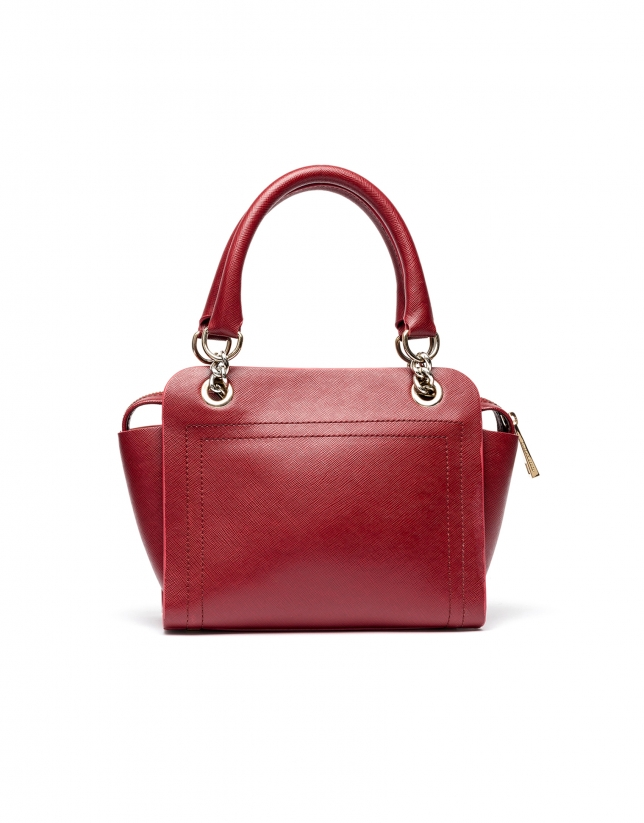 Bolso satchel piel saffiano rojo oscuro Romeo mili