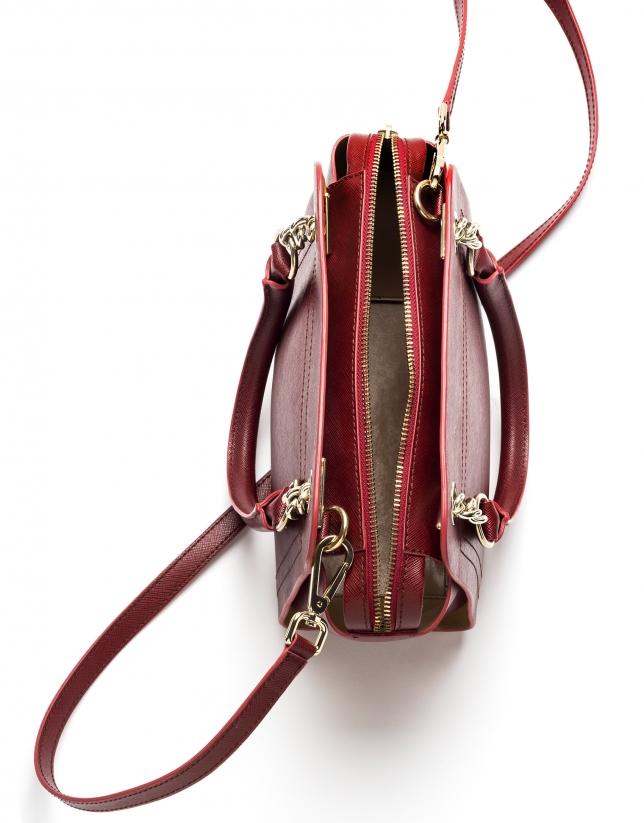 Sac satchel Romeo mili en cuir Saffiano rouge foncé