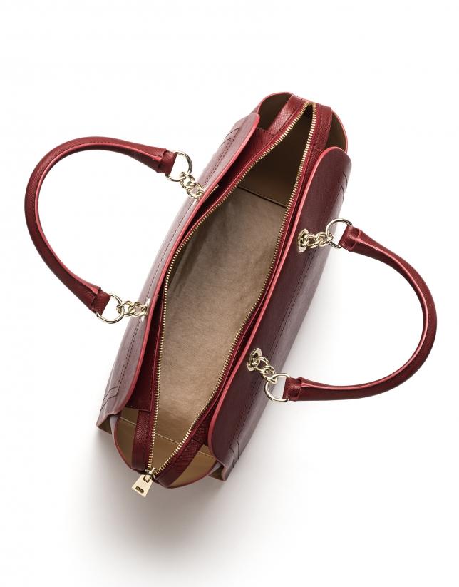Sac satchel en cuir Saffiano rouge foncé