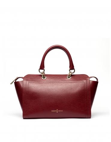 Dark red Saffiano leather Romeo satchel