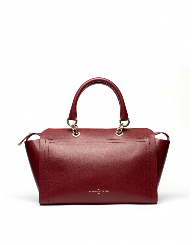 Bolso satchel piel saffiano rojo oscuro Romeo