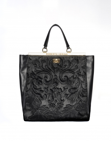 Black leather Baver tote