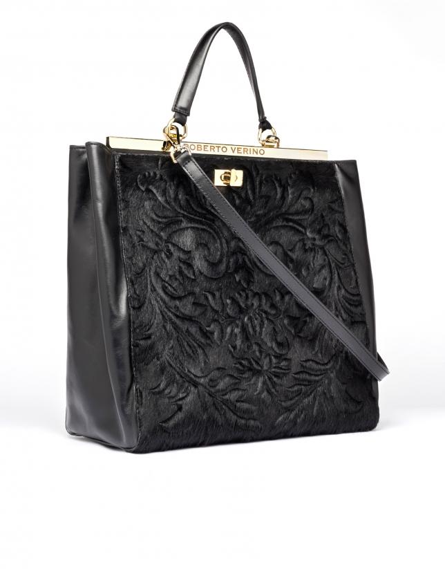 Black leather Baver tote