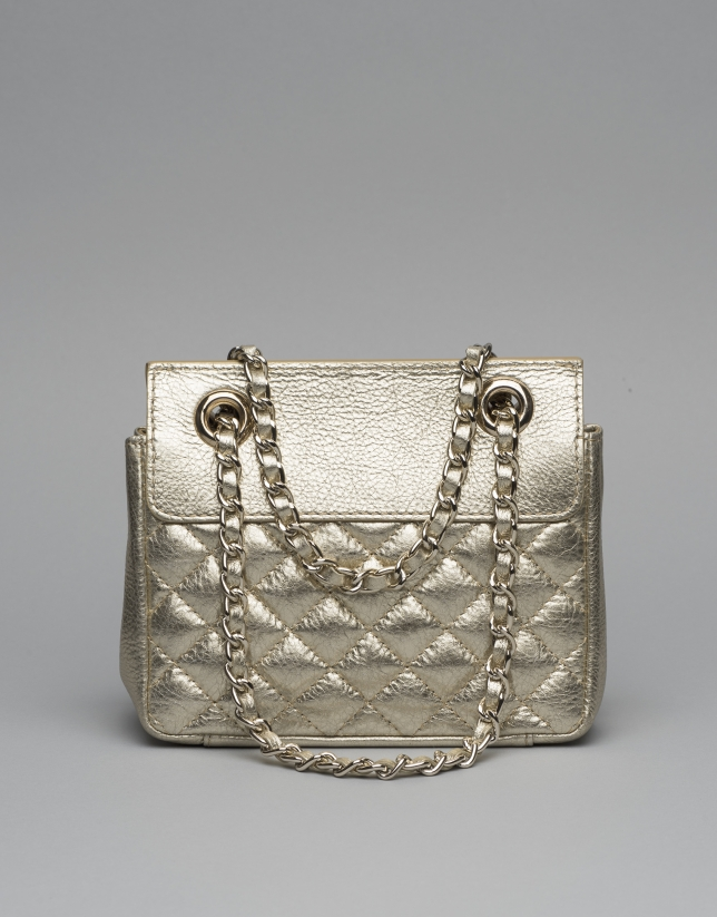 Gold leather Ghauri mini shoulder bag