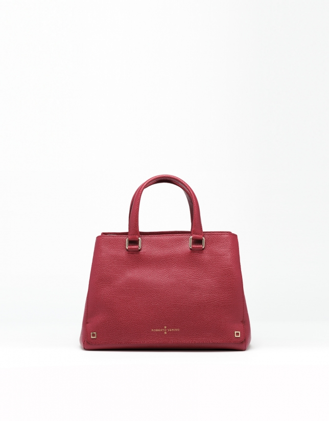Dark red Versalles leather mini tote bag
