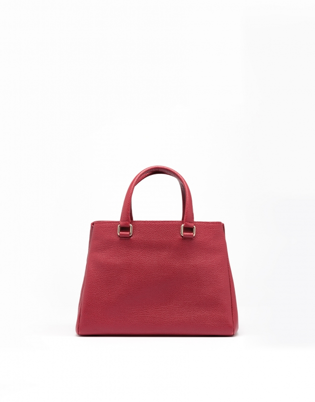 Mini sac tote en cuir vachette rouge foncé Versalles