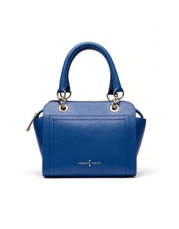 Sac satchel Romeo mili en cuir Saffiano bleu klein