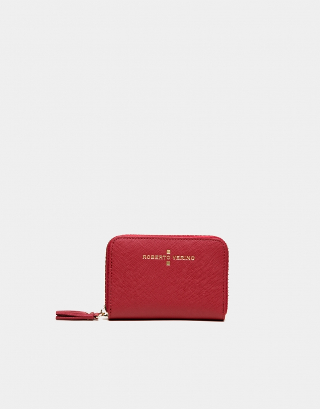 Red Saffiano leather mini coin purse
