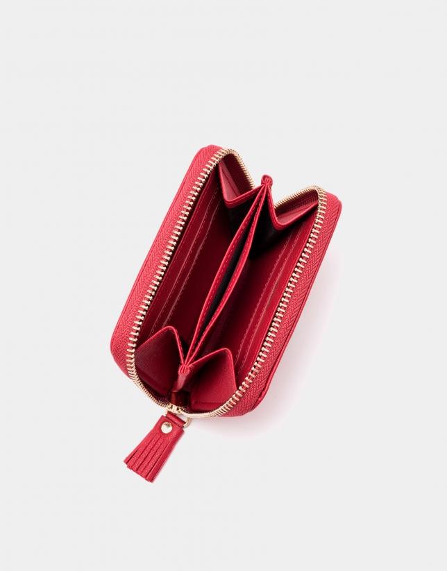 Red Saffiano leather mini coin purse