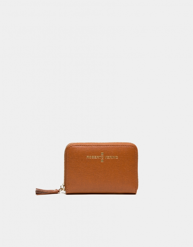 Tan Saffiano leather mini coin purse