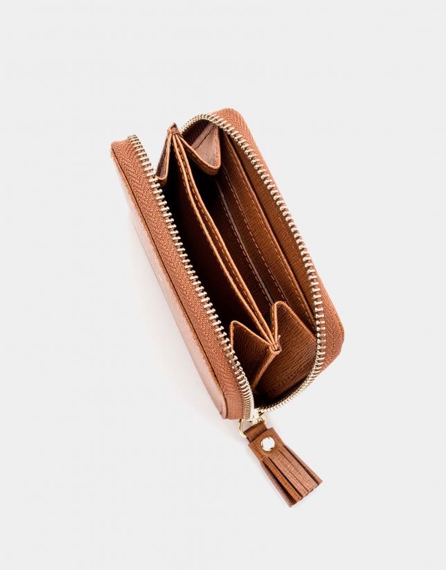 Tan Saffiano leather mini coin purse