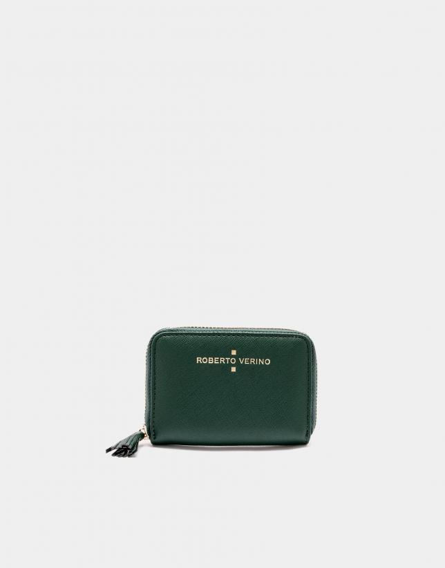 Green Saffiano leather mini coin purse