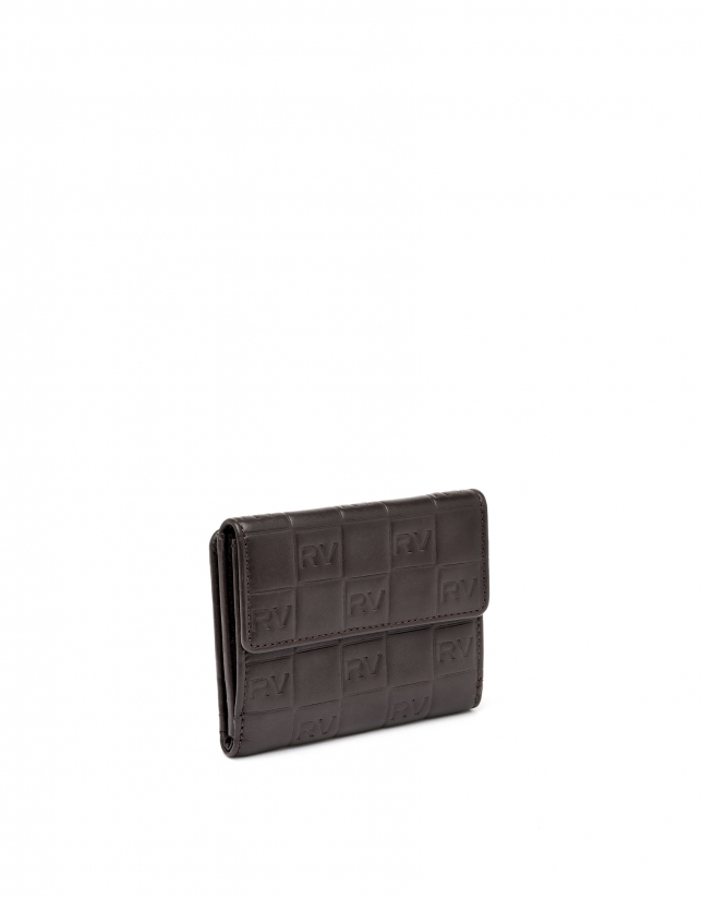Small brown tattoo leather billfold