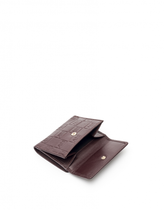Small burgundy leather tattoo billfold