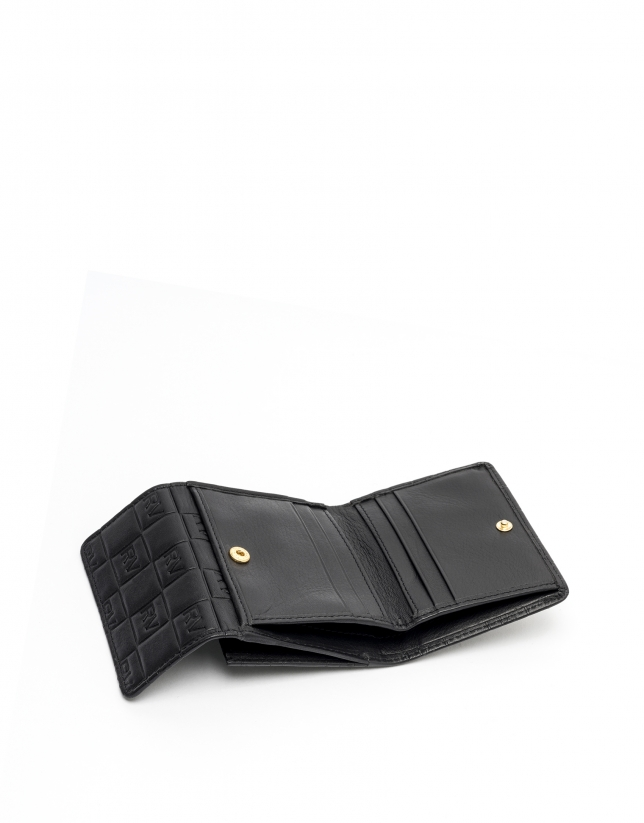 Small black leather tattoo billfold