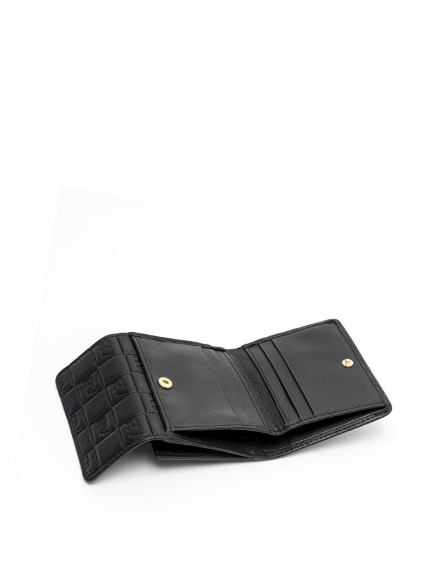 Small black leather tattoo billfold
