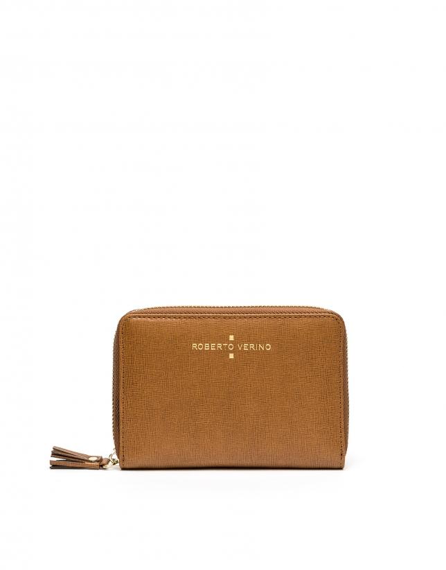 Portefeuille Mili en cuir Saffiano, couleur cuir