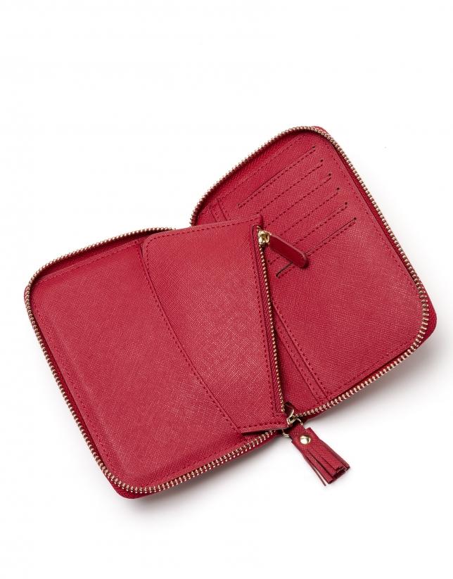 Red Saffiano leather mili billfold