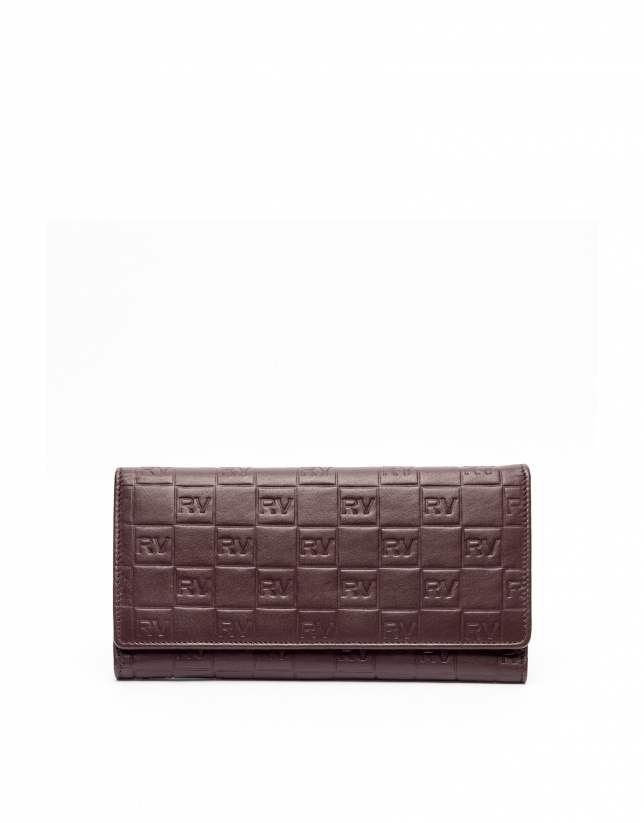 Burgundy mega leather tattoo billfold