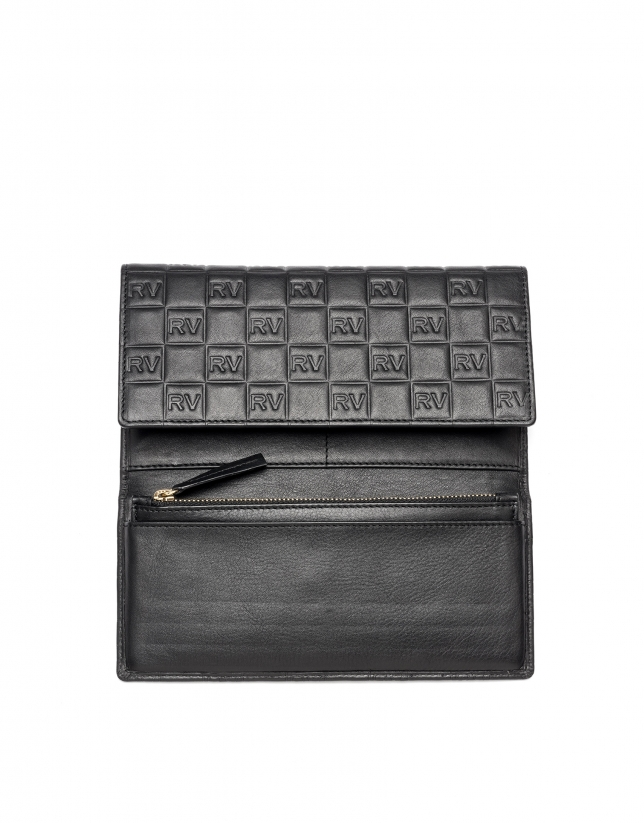 Black leather tattoo mega billfold