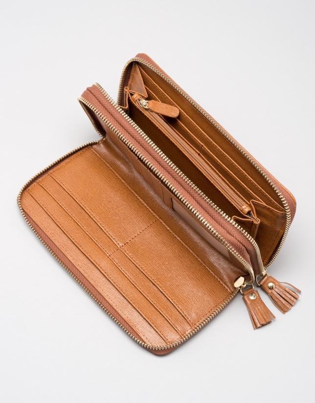 Earth Saffiano leather mega billfold