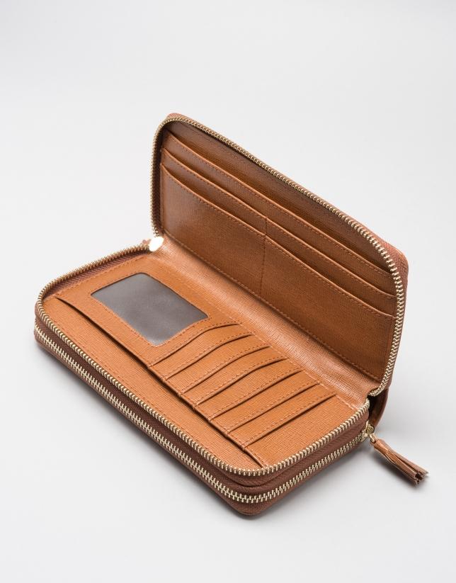 Portefeuille tera cuir Saffiano, couleur cuir