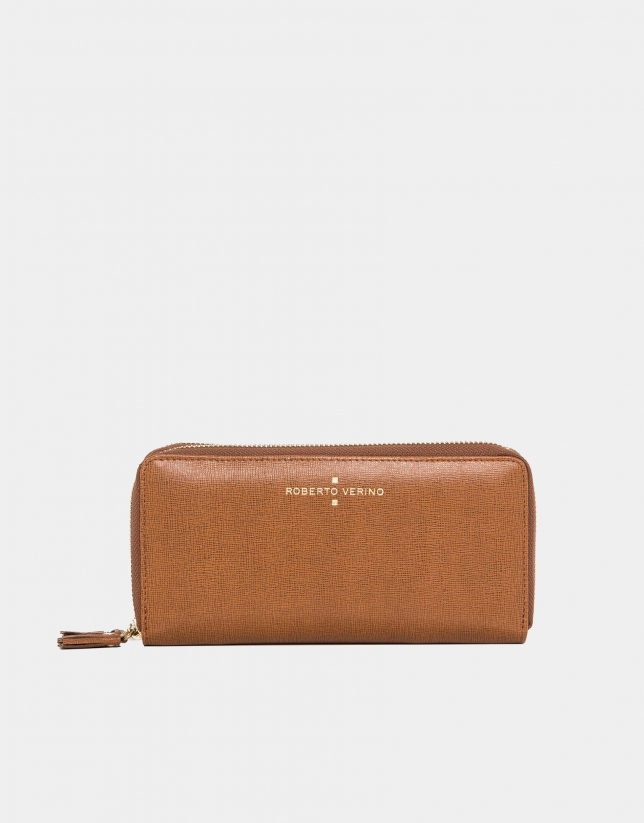 Earth Saffiano leather mega billfold