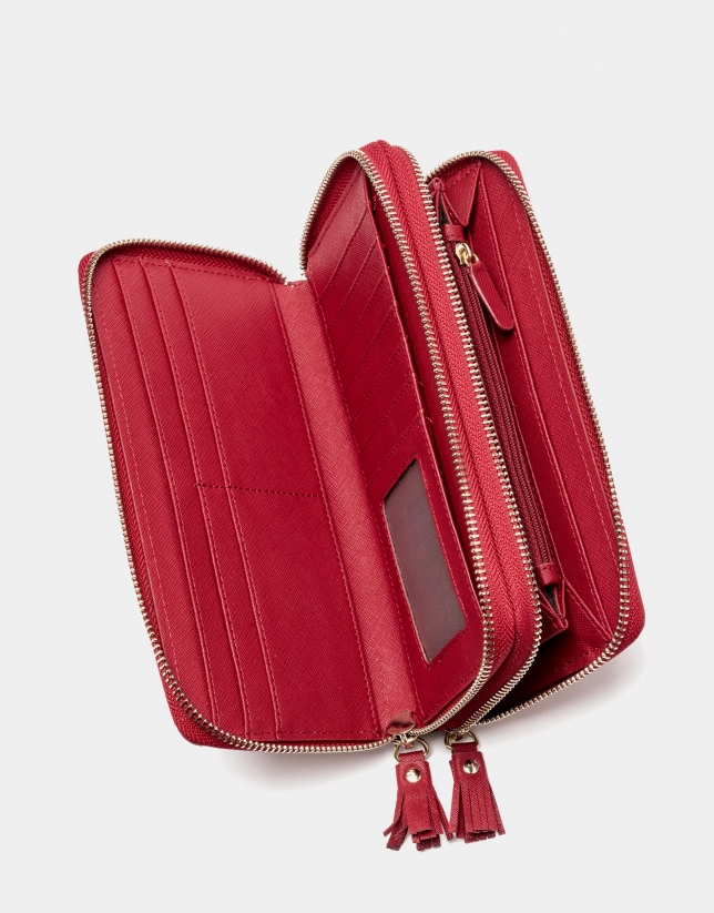 Red earth Saffiano leather mega billfold