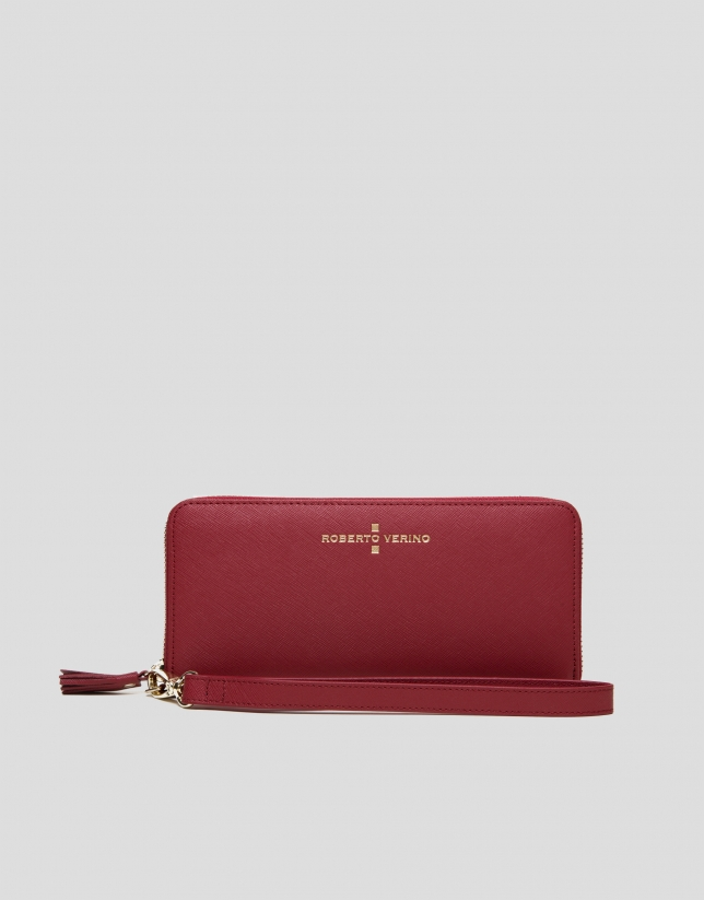 Red Saffiano leather mega billfold