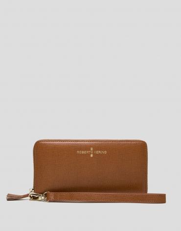 Tan Saffiano leather mega billfold
