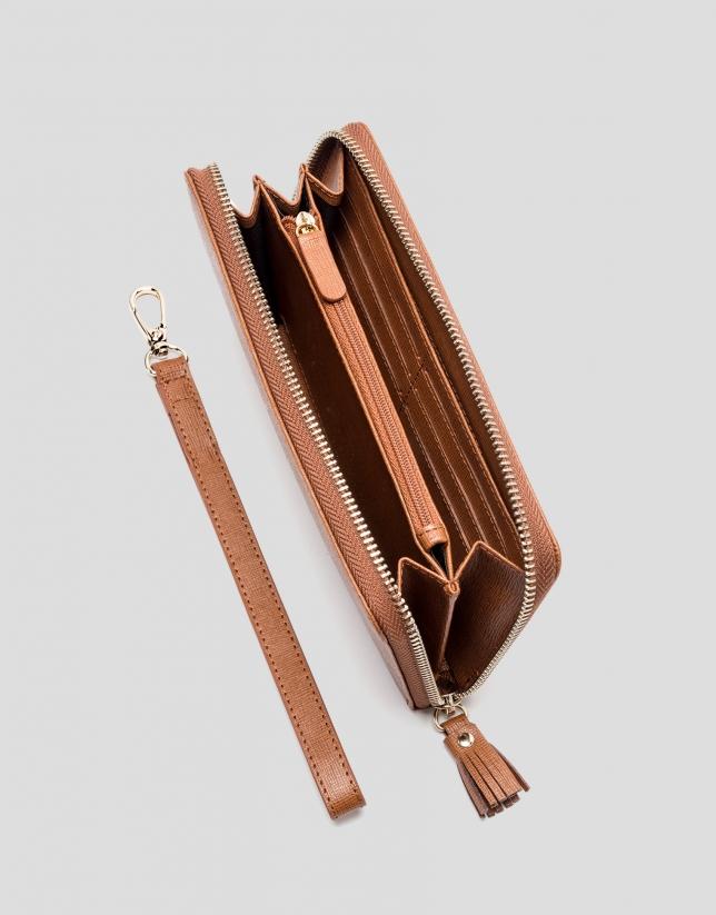 Portefeuille mega en cuir Saffiano, couleur cuir
