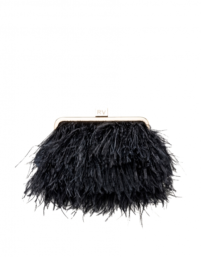Midnight blue clutch with feathers Royal