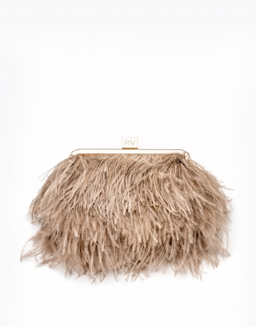 Bolso clutch plumas natural Royal