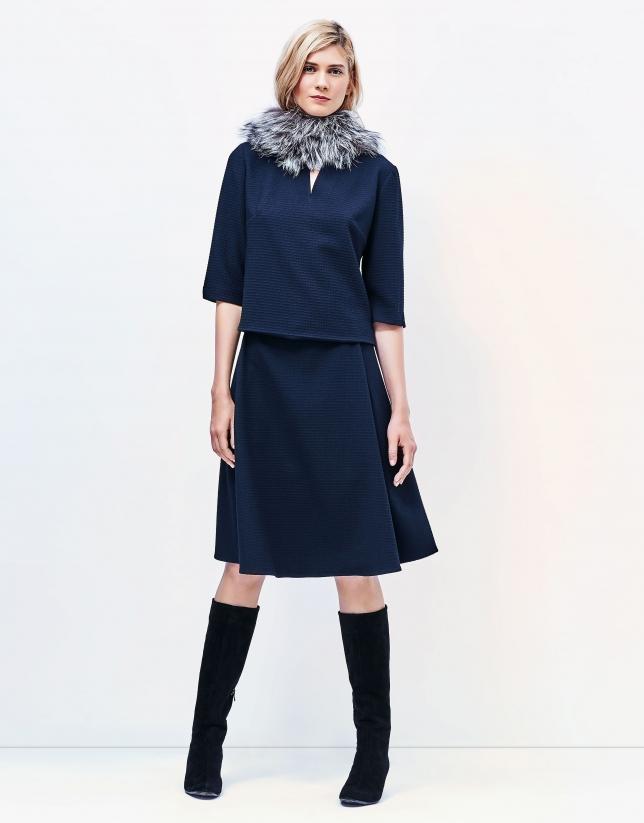 Falda midi azul