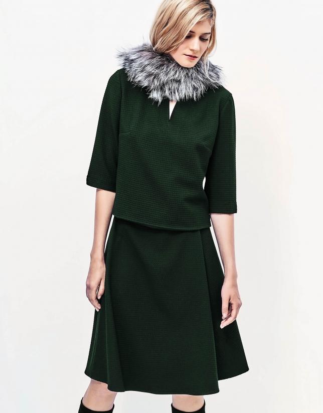 Falda midi verde