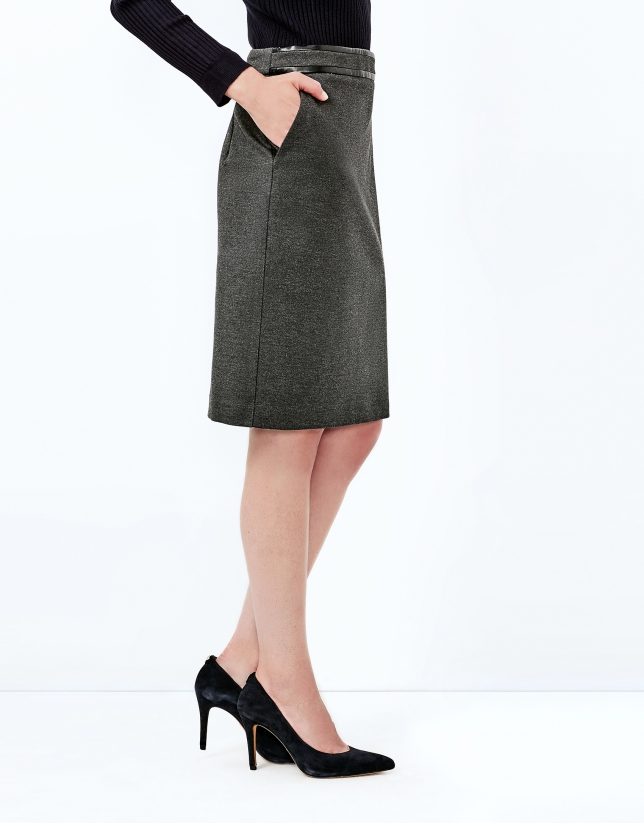 Grey straight skirt