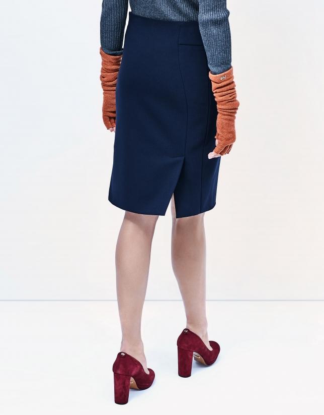 Falda recta azul