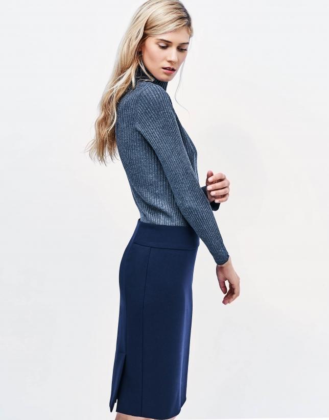 Jupe droite bleue