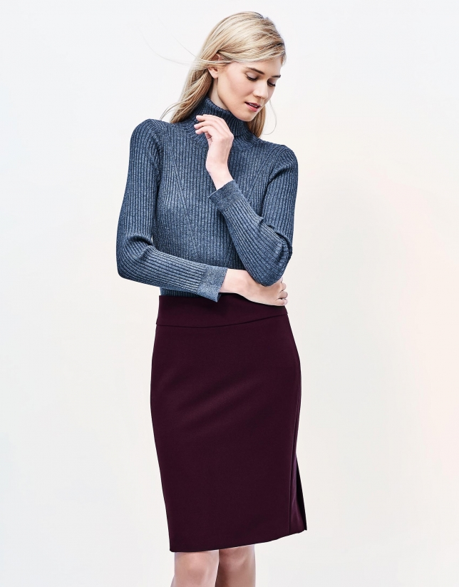 Aubergine straight skirt