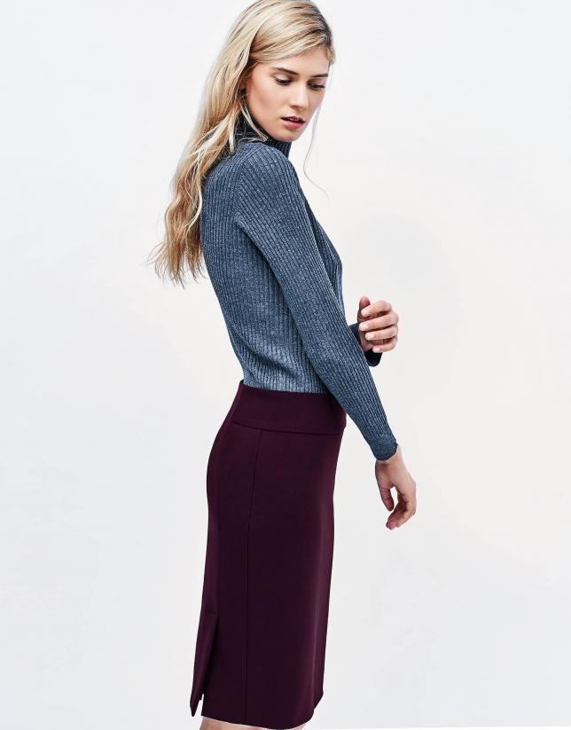 Aubergine straight skirt