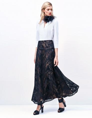 Falda larga encaje negra