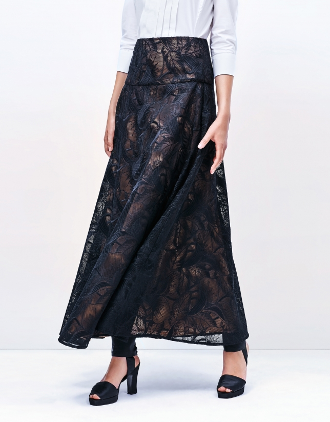Black lace long evasé skirt